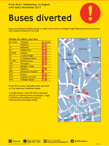 Upper street bus diversions