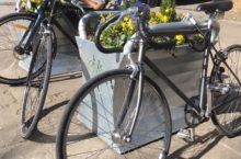 Colourful Bike-rack Planters in Angel